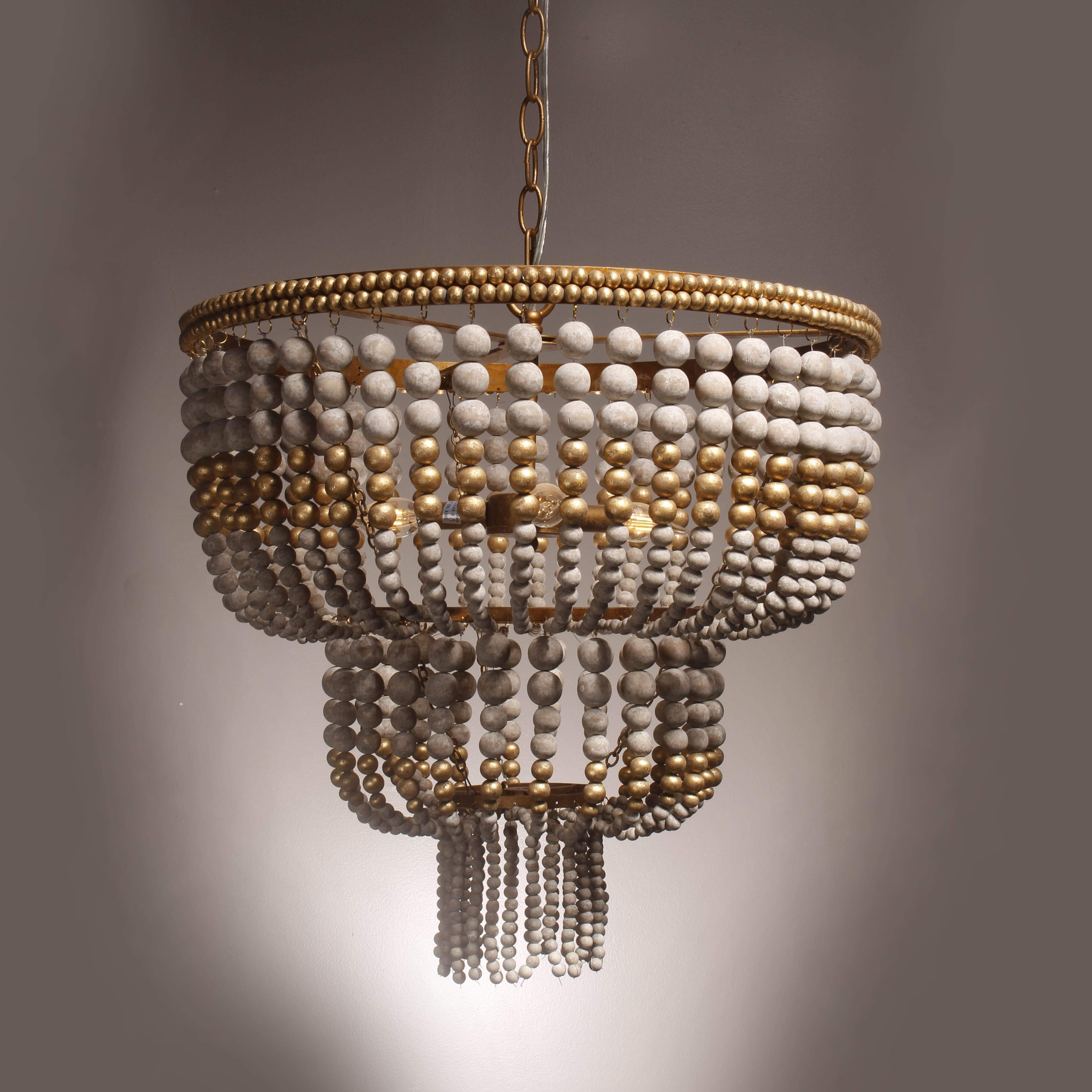 Hatfield 3 Light Novelty Chandeliers Inside Well Liked Seville Weathered Wood Beaded Chandelier (View 11 of 20)
