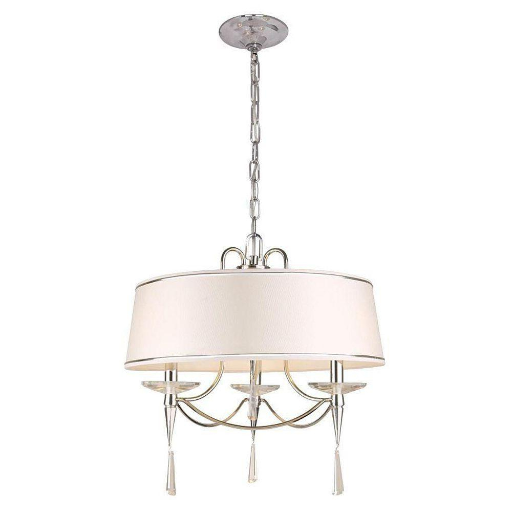 Helina 1 Light Pendants Throughout 2020 Hampton Bay Halina Collection 3 Light Chrome Drum Pendant (View 7 of 20)