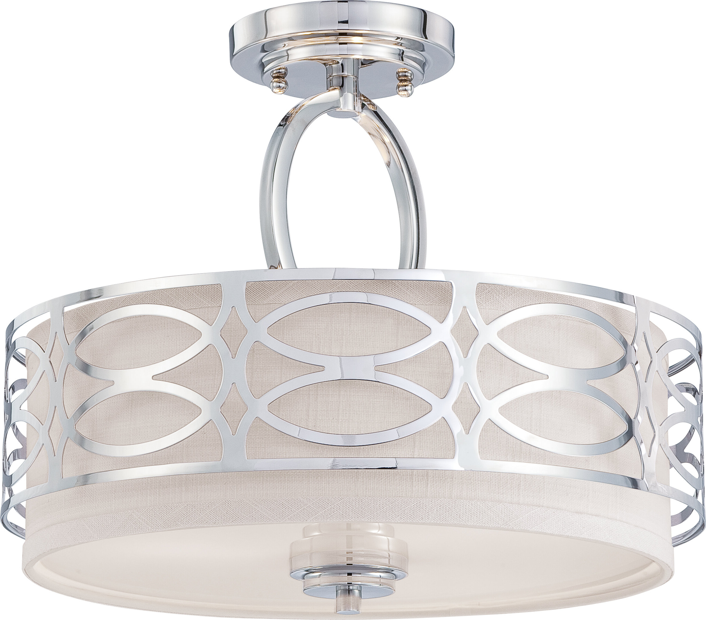 Helina 3 Light Semi Flush Mount With Regard To Most Up To Date Dirksen 3 Light Single Cylinder Chandeliers (View 9 of 20)