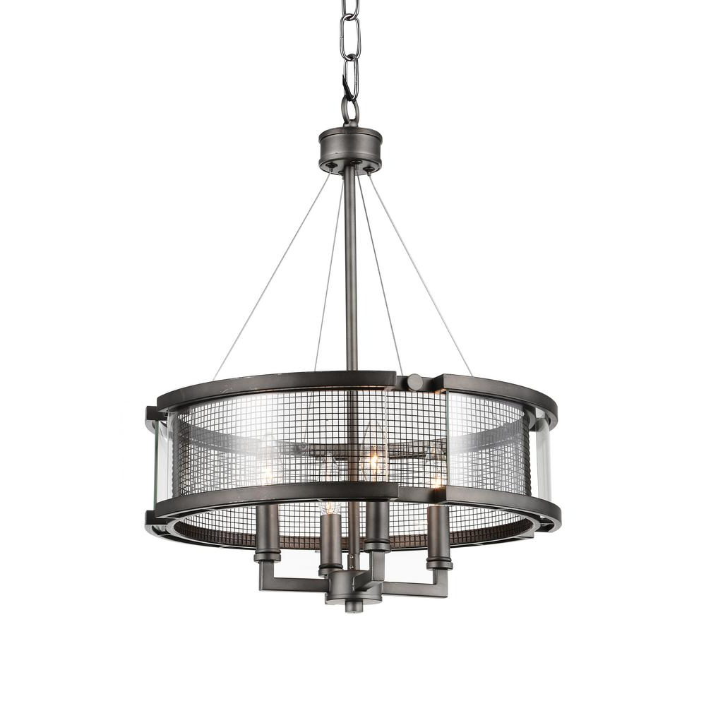 Hermione 1 Light Single Drum Pendants For Well Known Cwi Lighting Monroe 4 Light Black Silver Chandelier (View 16 of 20)