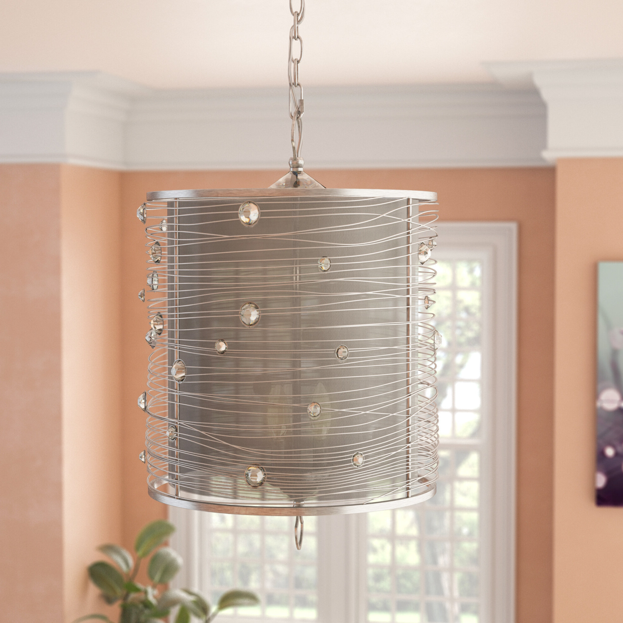 Hermione 3 Light Single Drum Pendant With Regard To 2019 Hermione 5 Light Drum Chandeliers (Gallery 16 of 20)