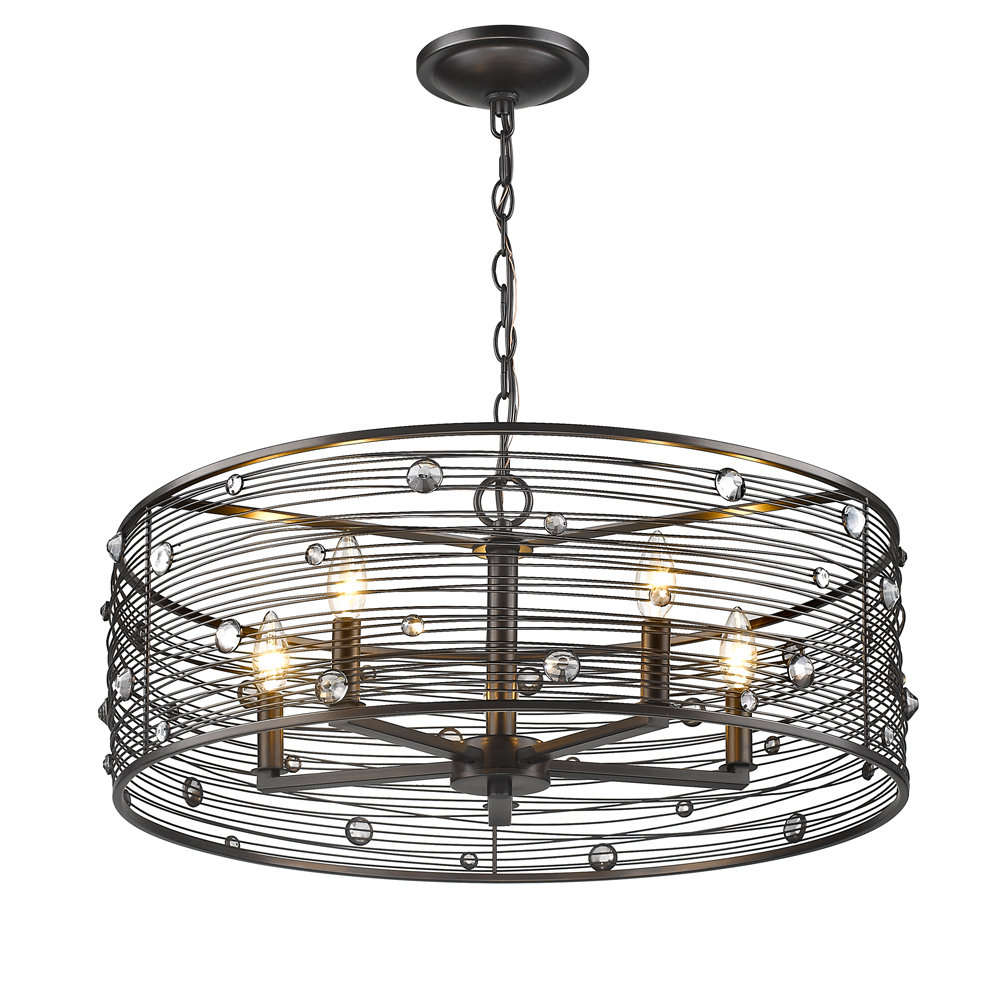 Hermione 5 Light Drum Chandeliers Within Most Popular Kendra 5 Light Drum Chandelier (View 11 of 20)