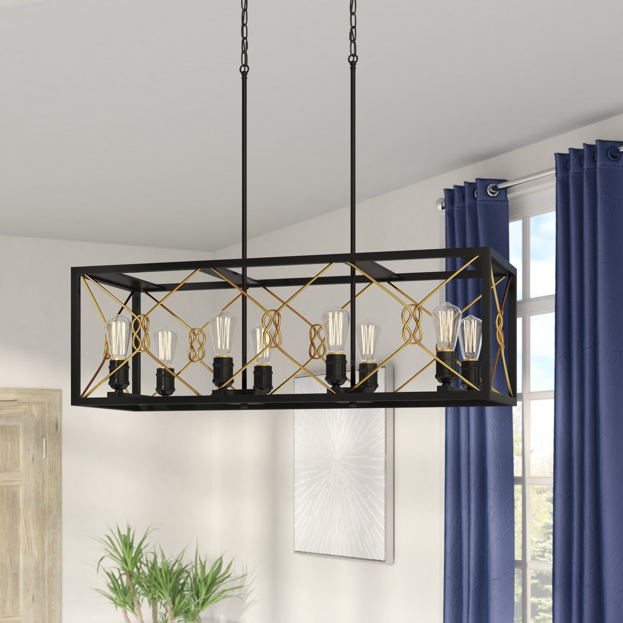 Hewitt 4 Light Square Chandeliers In Latest Industrial Square & Rectangular Chandeliers You'll Love In (View 7 of 20)