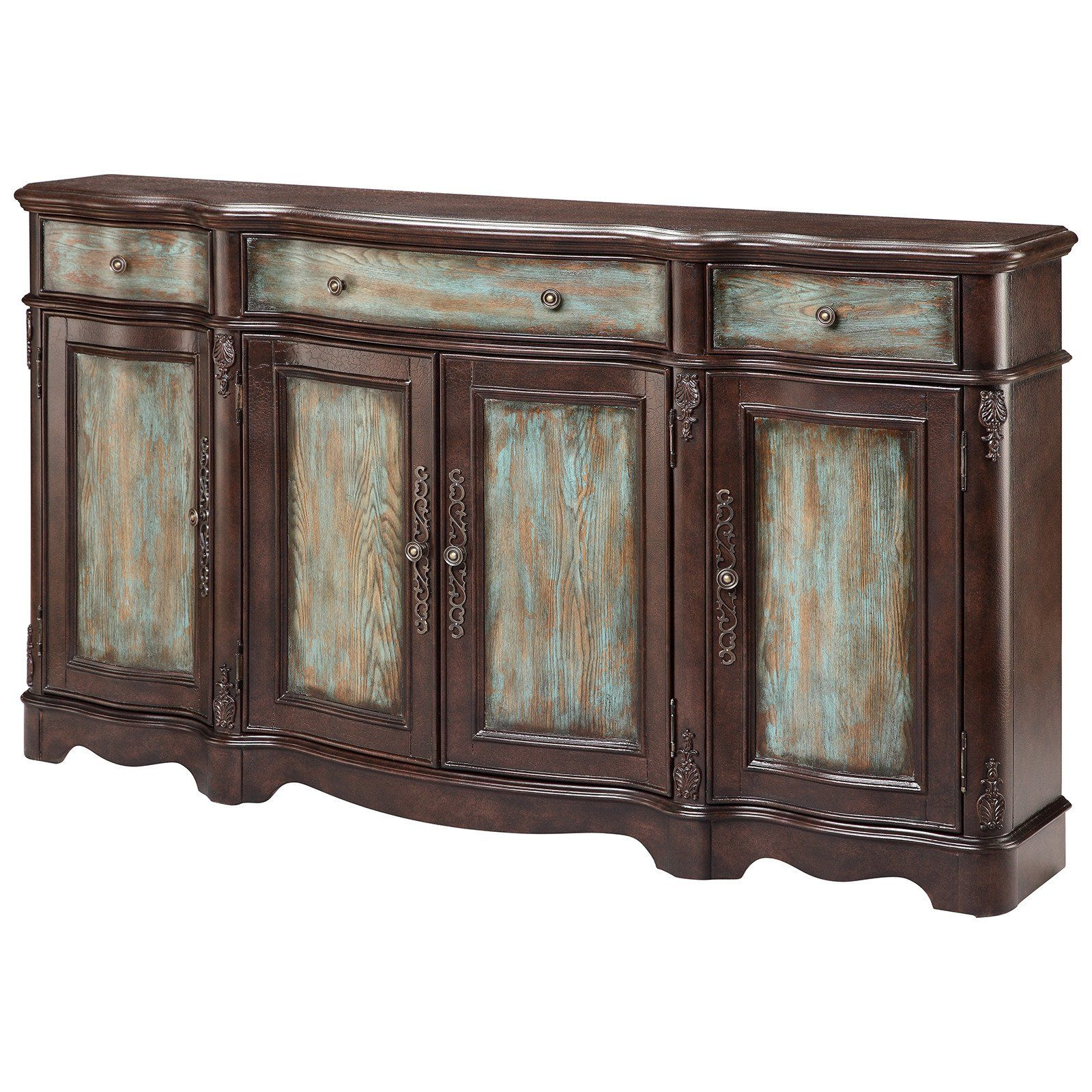Hewlett Sideboards Within Well Known Lyle 4 Door Sideboard In Brown And Blue (View 11 of 20)