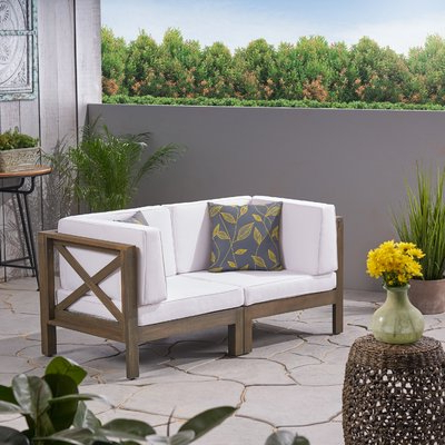 Highland Dunes Ellison Loveseat With Cushions In 2019 Within Most Current Ellison Patio Sectionals With Cushions (View 11 of 20)