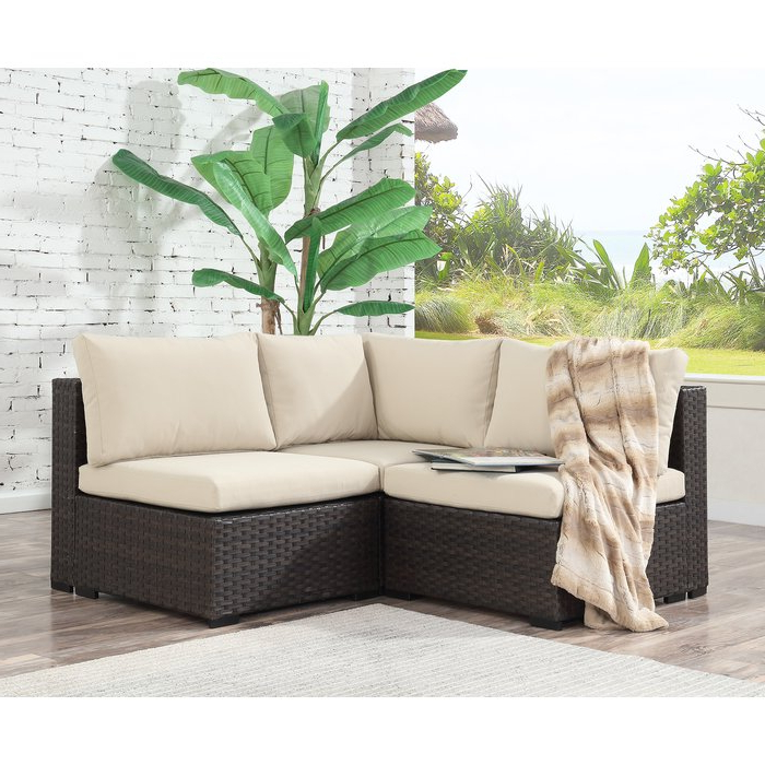 Holliston 3 Piece Rattan Sectional Seating Group With Cushions Within 2020 Larsen Patio Sectionals With Cushions (Gallery 10 of 20)