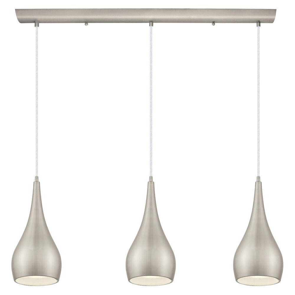 Home Decorators Collection 3 Light Matte Nickel Multi In 2020 Neal 9 Light Kitchen Island Teardrop Pendants (View 4 of 20)
