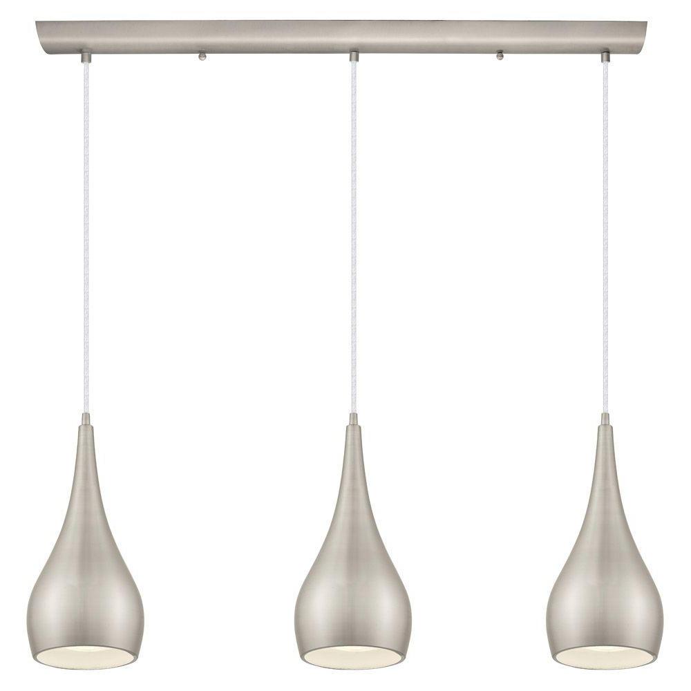 Home Decorators Collection 3 Light Matte Nickel Multi In 2020 Neal 9 Light Kitchen Island Teardrop Pendants (View 18 of 20)