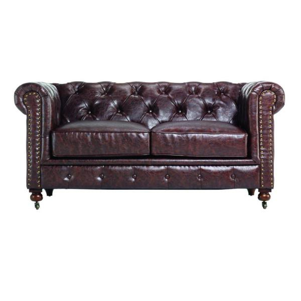 Home Decorators Collection Gordon Brown Leather Loveseat In Recent Owens Loveseats With Cushion (View 5 of 20)