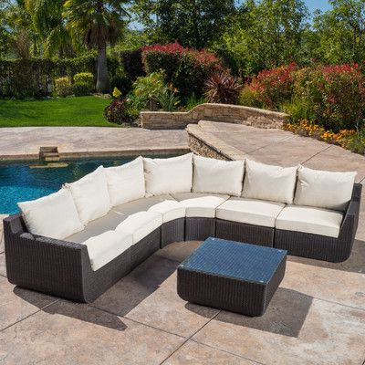 Home Loft Concepts Trabuco 7 Piece Outdoor Wicker Sectional In Most Up To Date Stockwell Patio Sofas With Cushions (Gallery 18 of 20)
