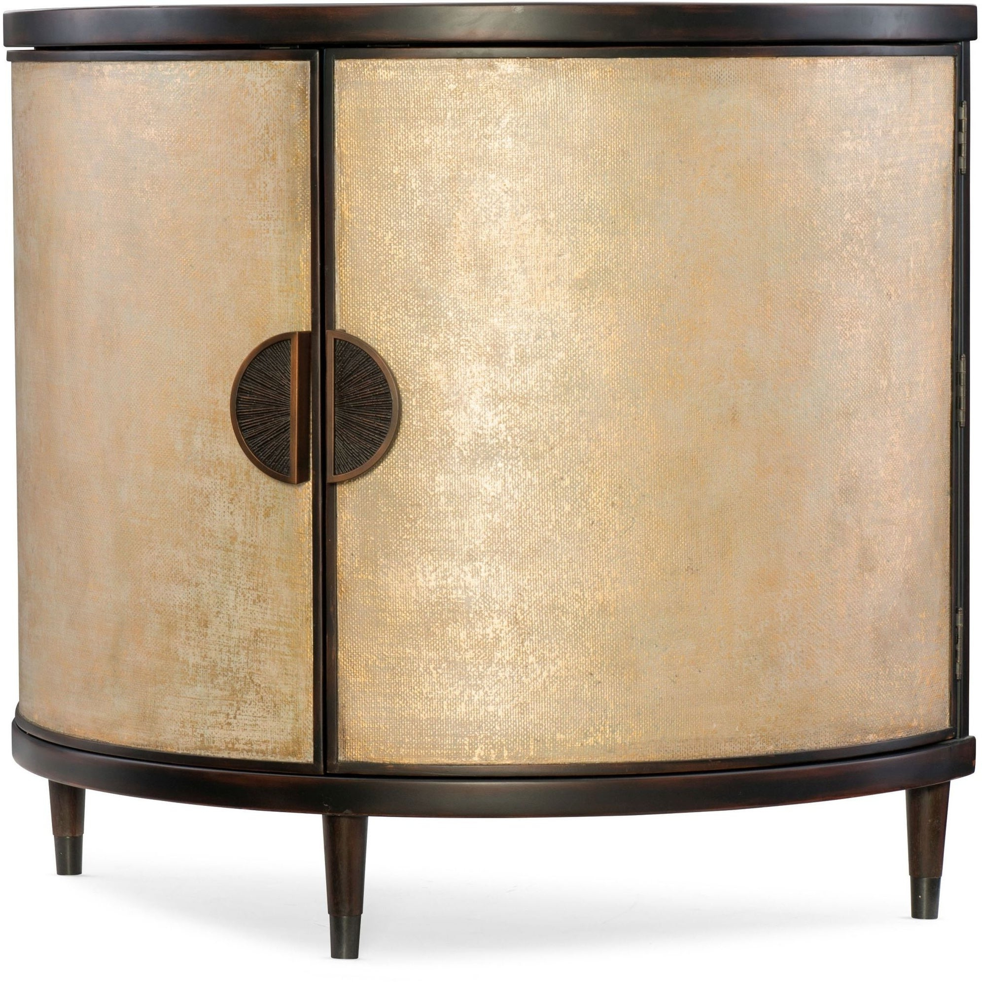 "Hooker Furniture 638 85314 Gld 42 1/4"" Wide Hardwood Cabinet From The  Melange – Em Demilune Collection – Black And Shimmer Cream Throughout Widely Used Melange Brockton Sideboards (Gallery 16 of 20)"
