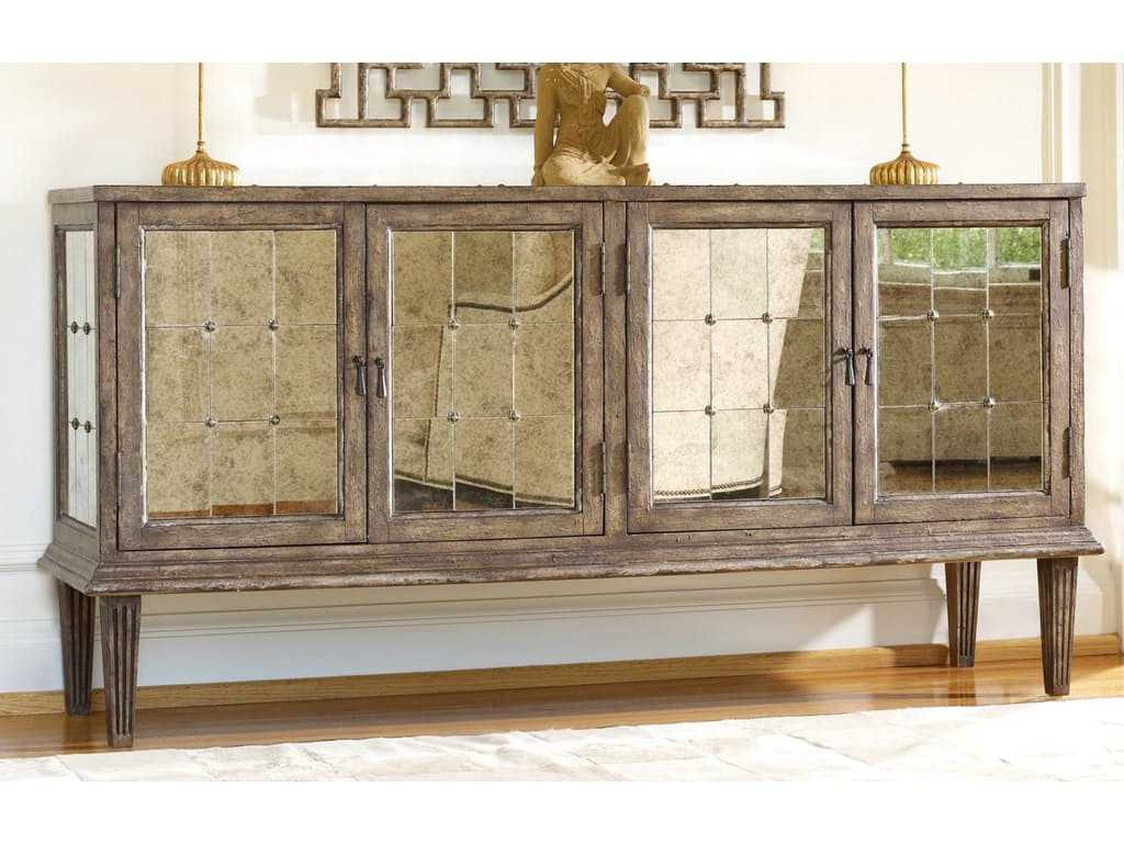 Hooker Furniture Melange Medium Wood 73''l X 21''w Rectangular Devera  Mirrored Console Buffet For Widely Used Melange Brockton Sideboards (Gallery 8 of 20)