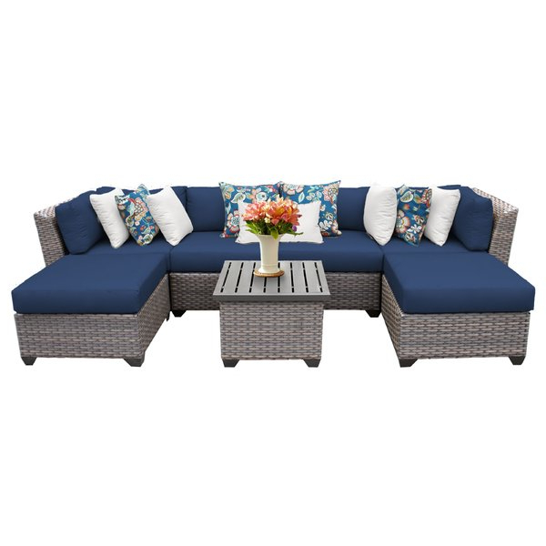 Huddleson Loveseats With Cushion Inside Popular Kenwick 7 Piece Rattan Sectional Seating Group With Cushions (View 9 of 20)