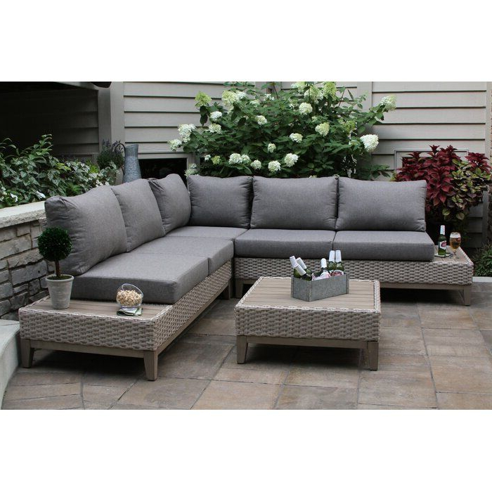 Huntleigh Eucalyptus And Wicker 4 Piece Sectional Seating Pertaining To Widely Used Tess Corner Living Patio Sectionals With Cushions (View 8 of 20)