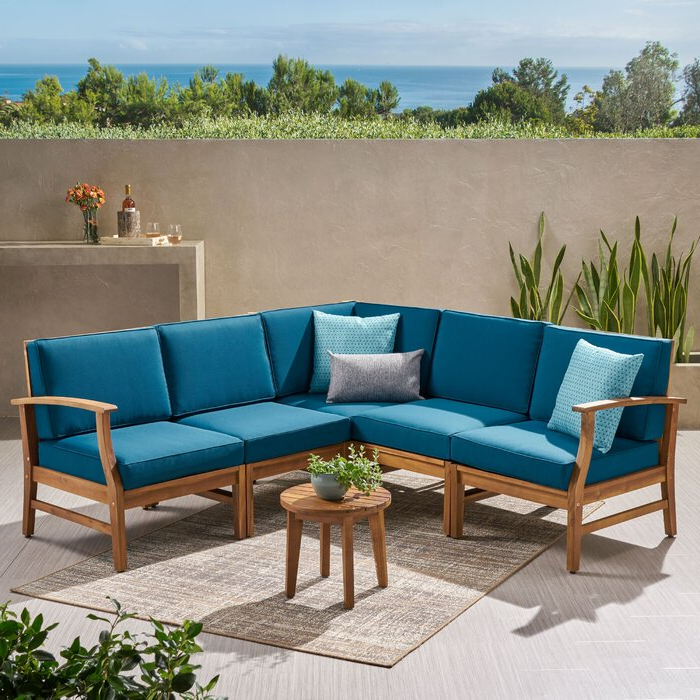 Hursey Patio Sectionals Pertaining To Best And Newest Antonia Teak Patio Sectional With Cushions (View 10 of 20)