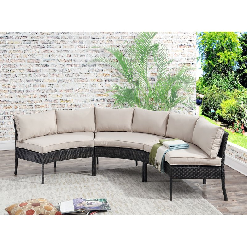 Hursey Patio Sectionals With Current Purington Circular Patio Sectional With Cushions (View 8 of 20)