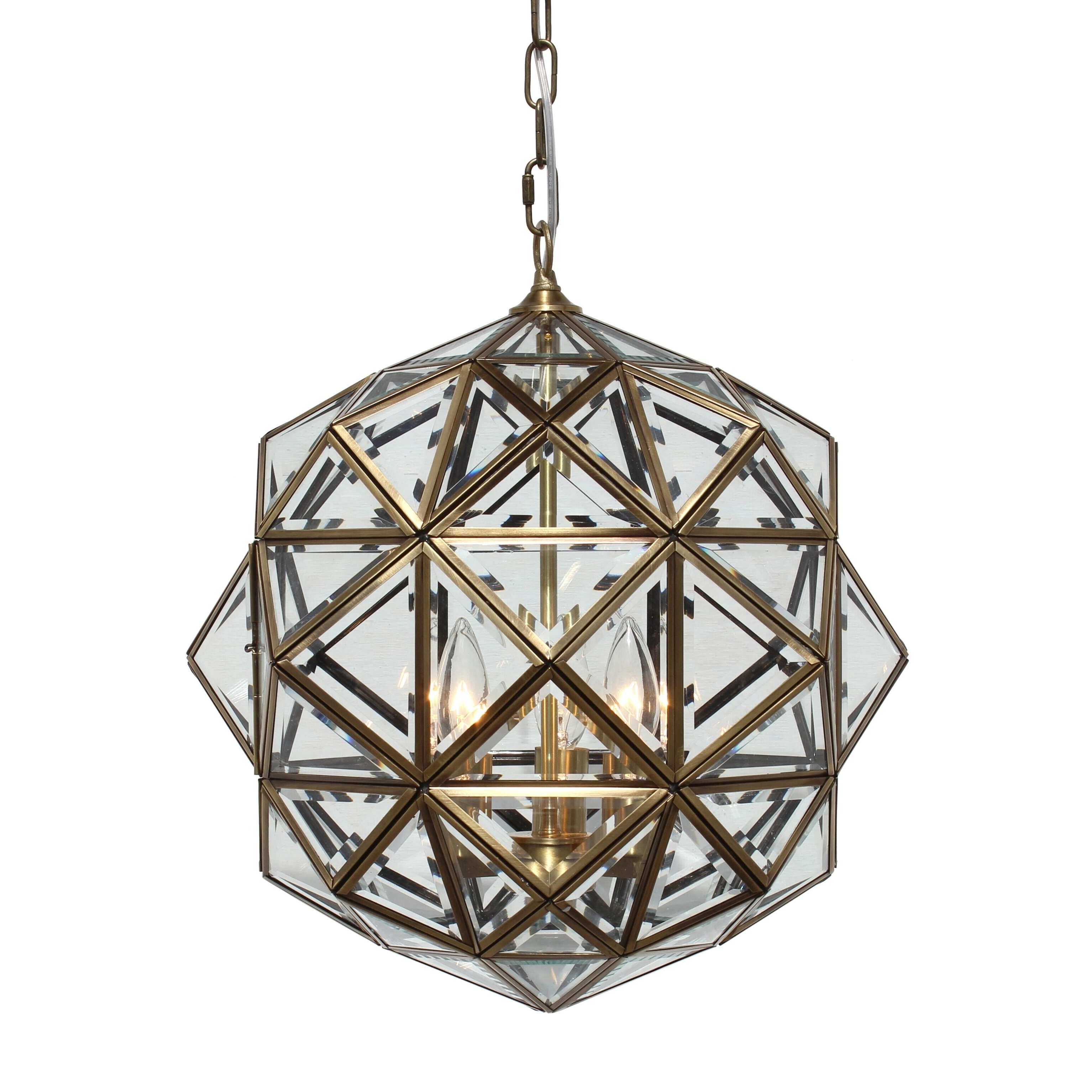 Hydetown 1 Light Single Geometric Pendants With Regard To Best And Newest Worlds Away Valencia Round Clear Glass Faceted Pendant (View 12 of 20)