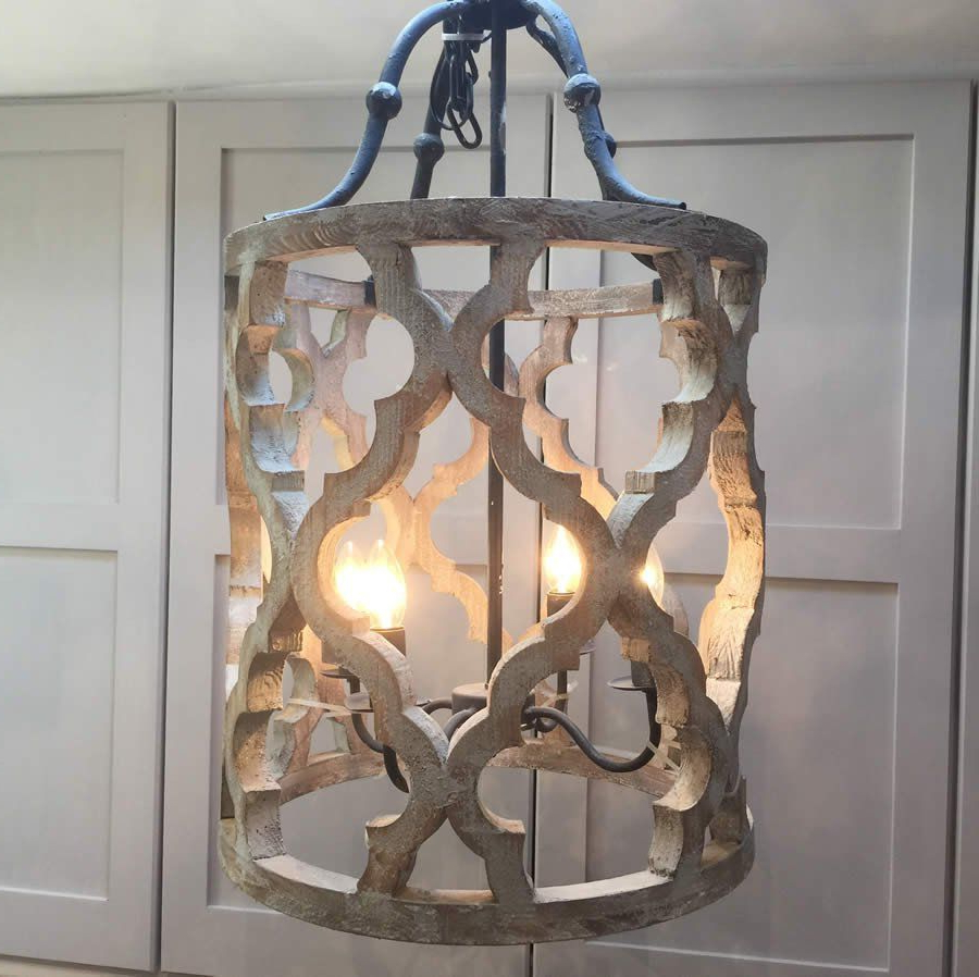 Ikat Design Carved Wooden 4 Light Lantern Pendant With Metal Pertaining To Fashionable Nisbet 4 Light Lantern Geometric Pendants (View 7 of 20)