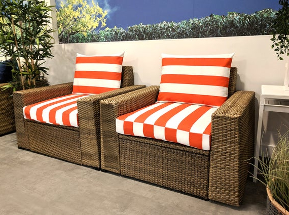 Ikea Furniture Covers, Outdoor Cabana Stripe Cushion Slip Cover – *fits Ikea Only* With Well Known Bullock Outdoor Wooden Loveseats With Cushions (View 13 of 20)
