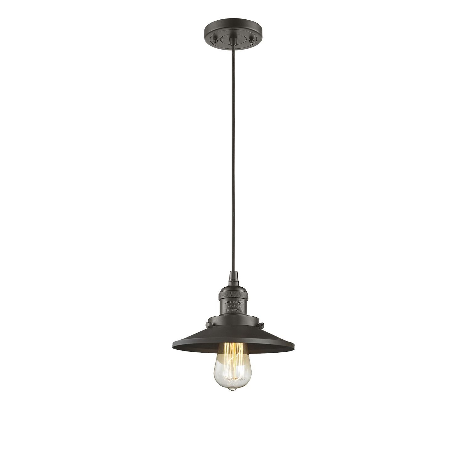 Innovations Lighting Railroad Oiled Rubbed Bronze Eight Inch Intended For Trendy Nadine 1 Light Single Schoolhouse Pendants (View 5 of 20)