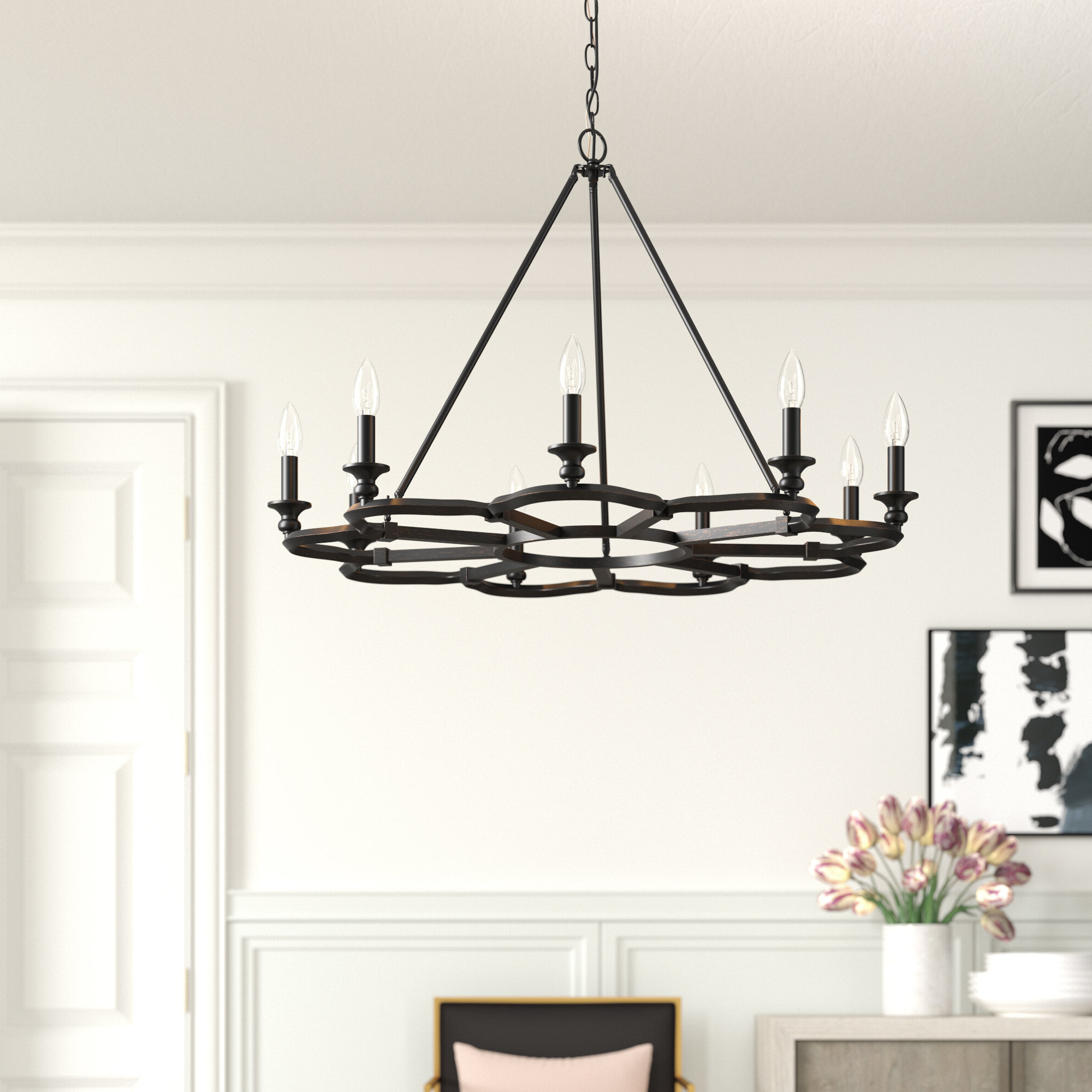Jae 9 Light Wagon Wheel Chandelier Pertaining To 2019 Giverny 9 Light Candle Style Chandeliers (View 11 of 20)