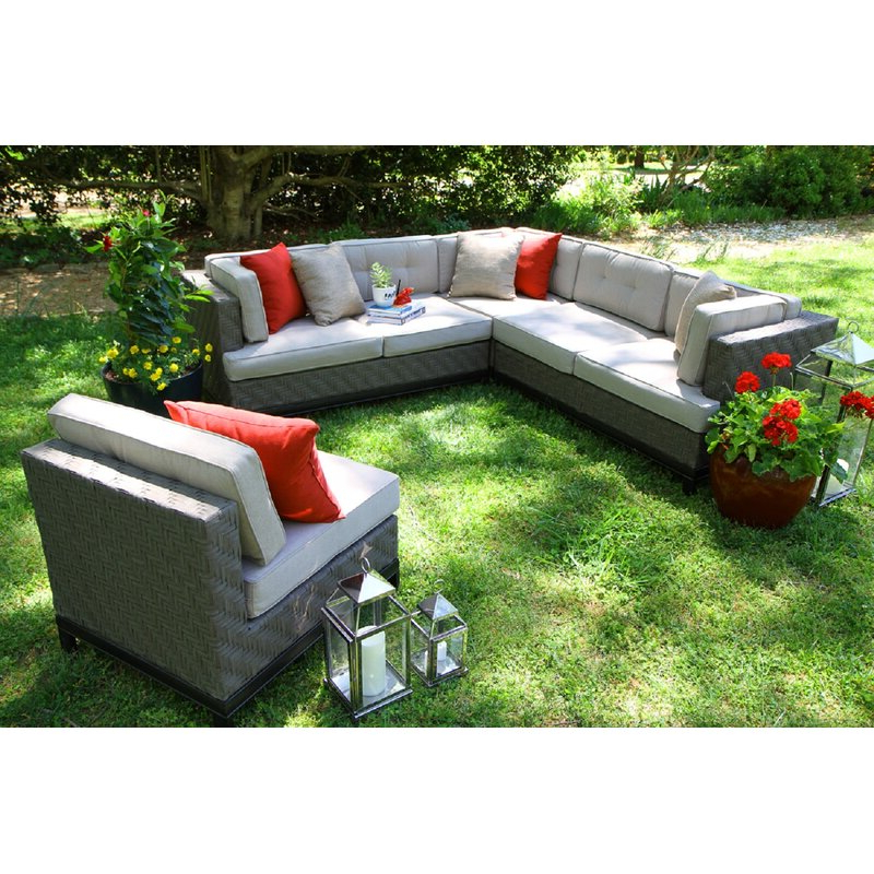 Jamarion 4 Piece Sectionals With Sunbrella Cushions In Well Liked Jamarion 4 Piece Sectional With Sunbrella Cushions (View 6 of 20)