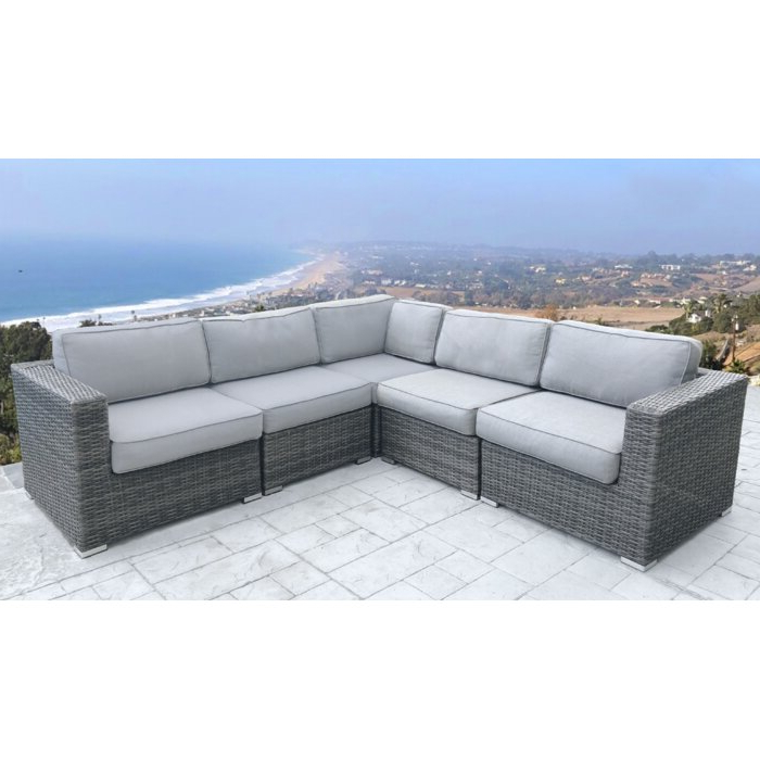 Jamarion 4 Piece Sectionals With Sunbrella Cushions With Most Recently Released Nolen Patio Sectional With Cushions (Gallery 15 of 20)