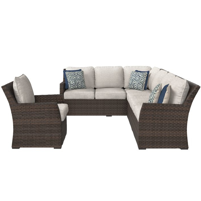Jamarion 4 Piece Sectionals With Sunbrella Cushions With Regard To Most Recently Released Adele Patio Sectional With Cushions (View 12 of 20)