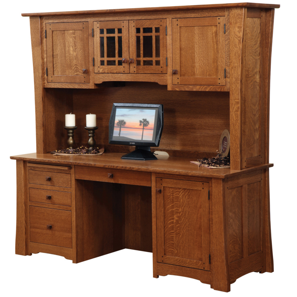 Jamestown Credenza (With Hutch Top) – Amish Oak Furniture Throughout Most Up To Date Stephen Credenzas (View 7 of 20)