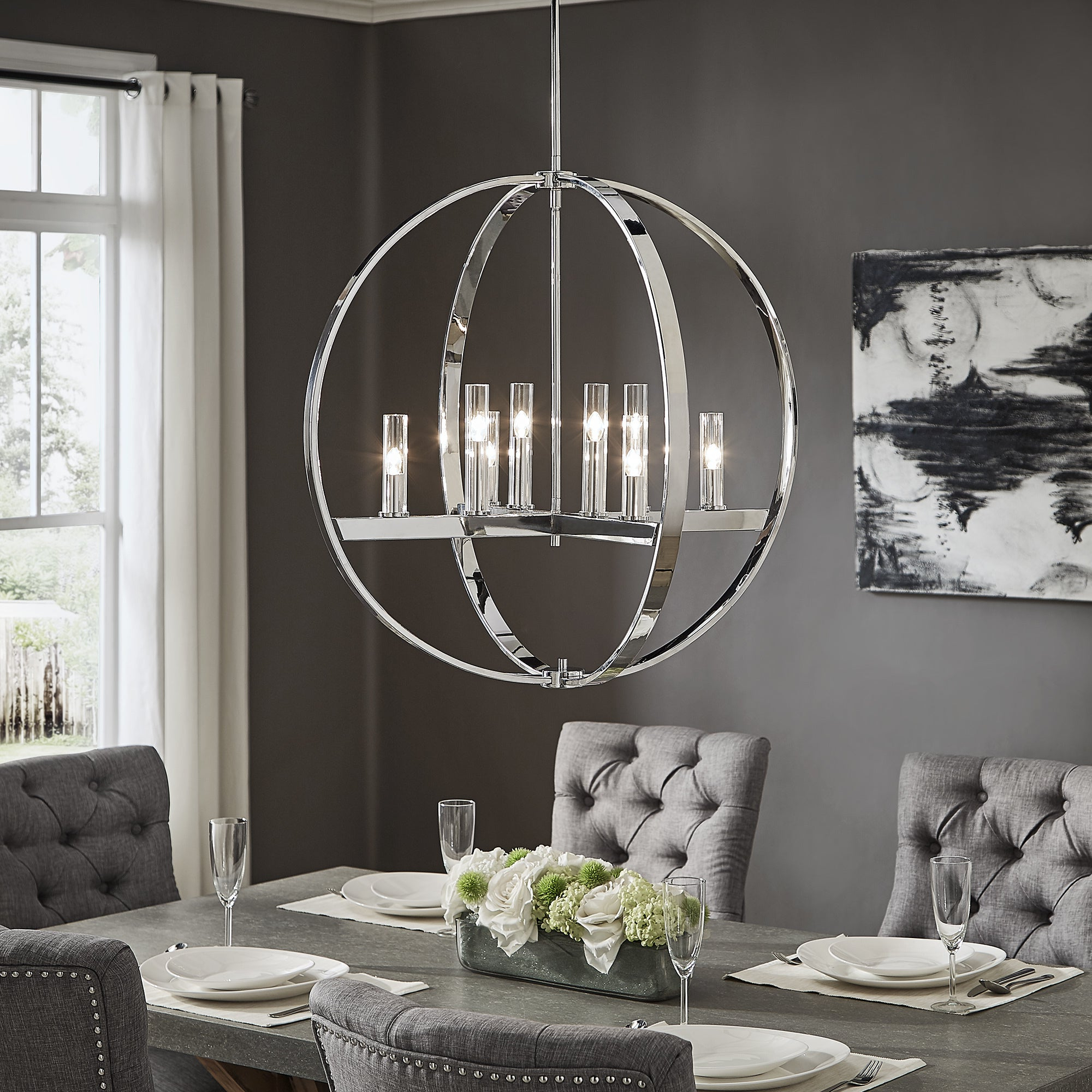 Jasper Chrome Finish Adjustable 8 Light Orb Chandelierinspire Q Modern For Most Current Lynn 6 Light Geometric Chandeliers (Gallery 13 of 20)