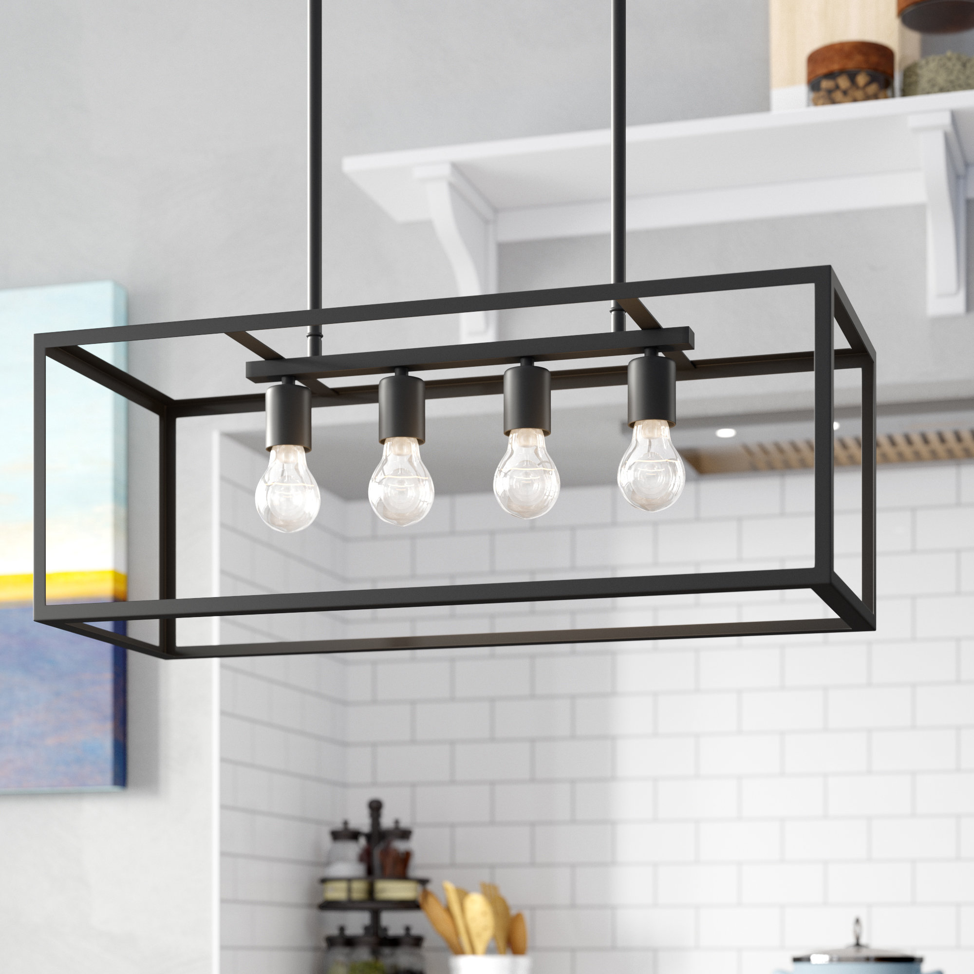Jefferson 4 Light Kitchen Island Linear Pendants Regarding 2019 Ratner 4 Light Kitchen Island Linear Pendant (View 8 of 20)