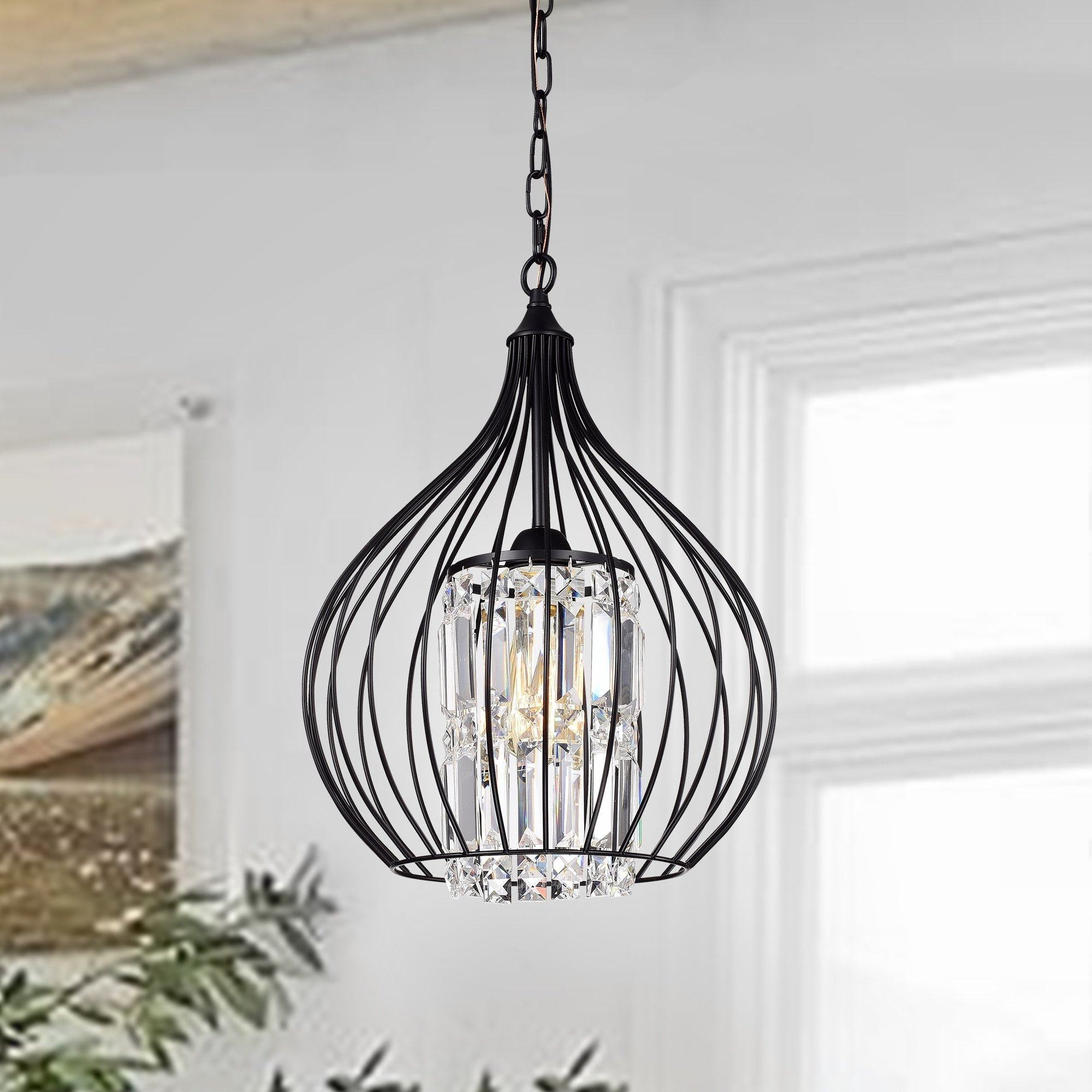 Johanne Matte Black 1 Light Pendant With Crystal Shade In Inside Popular Helina 1 Light Pendants (View 11 of 20)