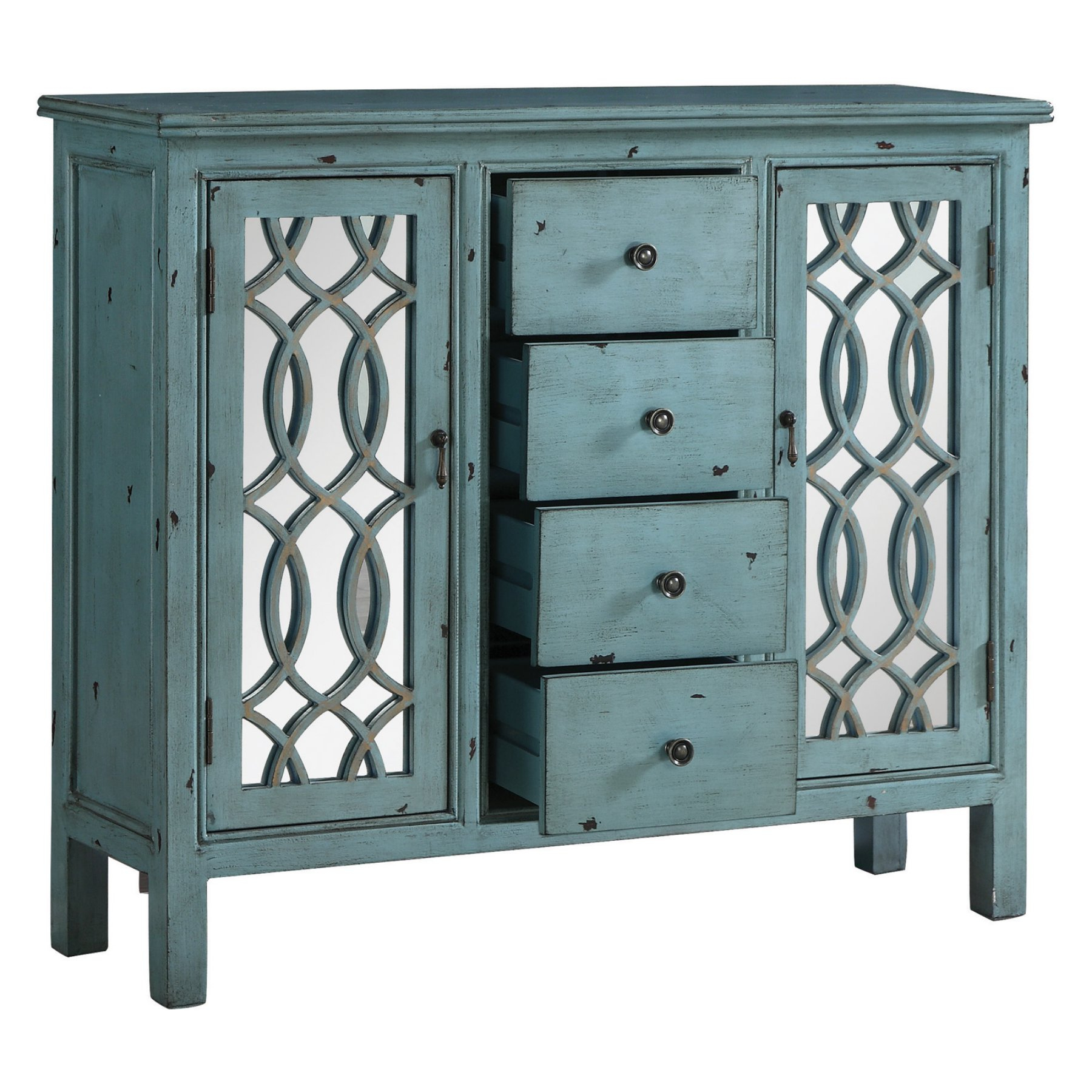 Kara 4 Door Accent Cabinets With Well Known Coaster Furniture 4 Drawer Mirrored Accent Cabinet (Gallery 20 of 20)