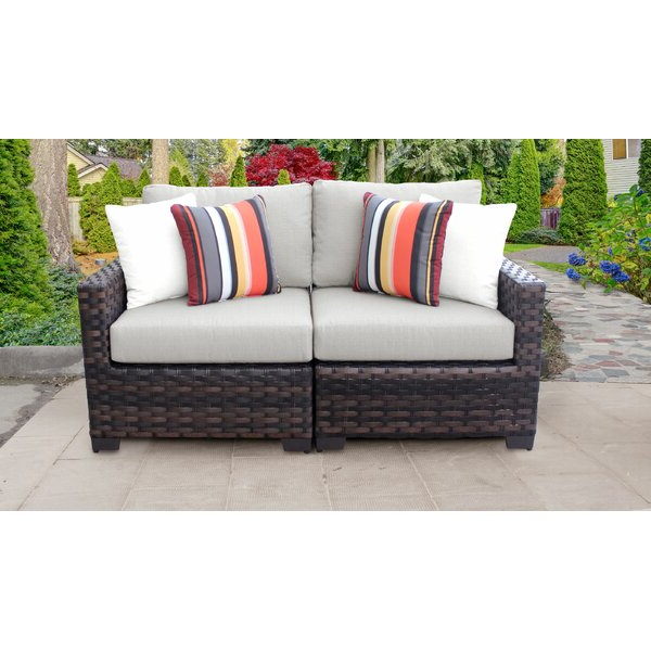 Kathy Ireland Homes & Gardens River Brook 2 Piece Outdoor In Most Recently Released Mansfield Teak Loveseats With Cushion (View 6 of 20)