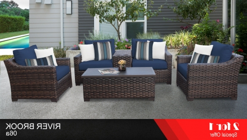 Kathy Ireland River Brook 6 Piece Outdoor Wicker Patio Furniture Set 06A With Regard To Current Oreland Patio Sofas With Cushions (View 6 of 20)