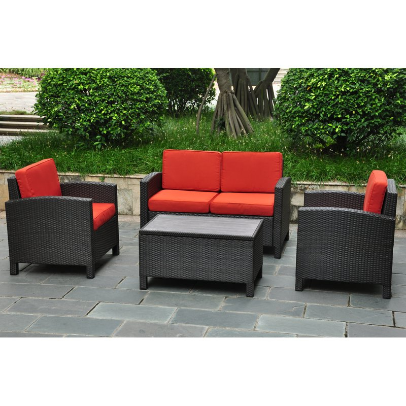 Katzer 4 Piece Sofa Seating Group With Cushions With Well Known Katzer Patio Sofas With Cushions (View 6 of 20)