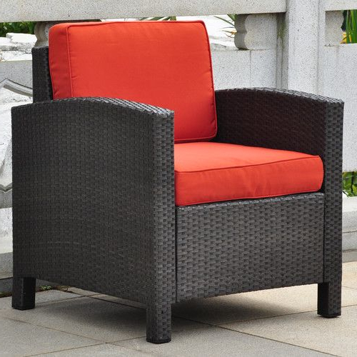 Katzer Patio Sofas With Cushions For Widely Used Katzer Wicker Resin Aluminum Contemporary Patio Chair With (Gallery 4 of 20)
