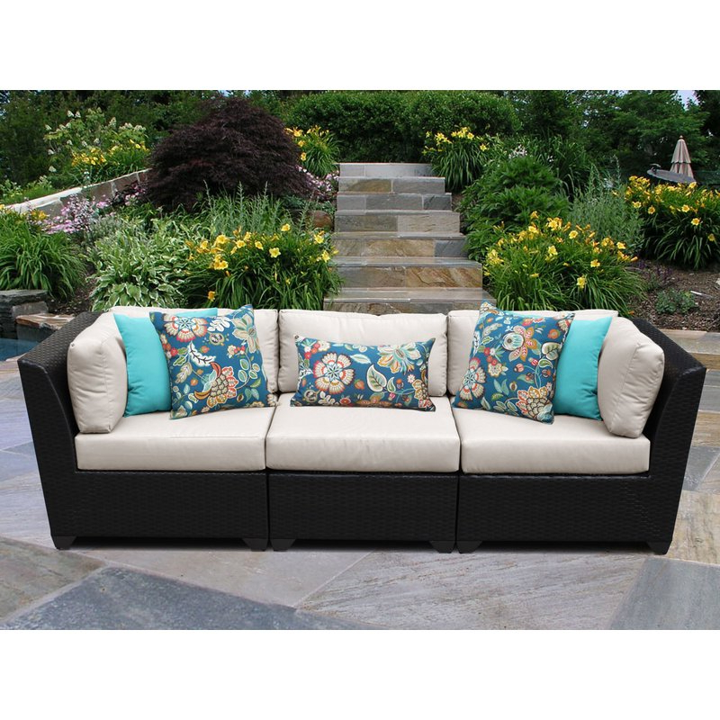 Katzer Patio Sofas With Cushions Intended For 2019 Camak Patio Sofa With Cushions (View 9 of 20)