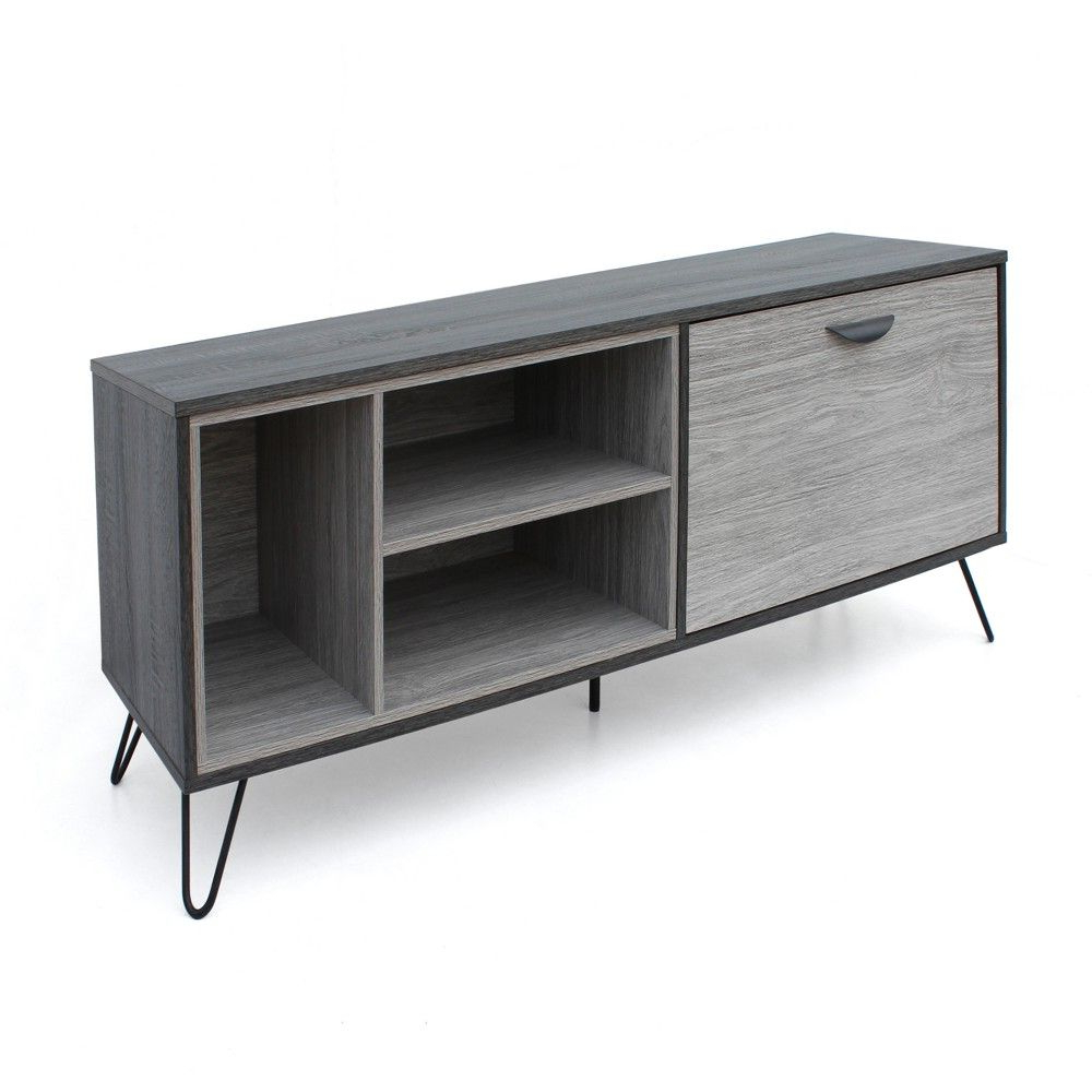 Keiko Modern Bookmatch Sideboards Regarding 2019 Dorrin Mid Century Wooden Tv Stand Sonoma Gray Oak Brown (View 11 of 20)