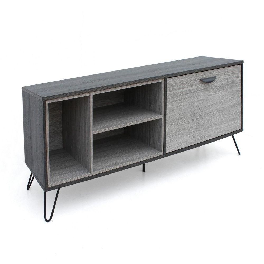 Keiko Modern Bookmatch Sideboards Regarding 2019 Dorrin Mid Century Wooden Tv Stand Sonoma Gray Oak Brown (Gallery 11 of 20)