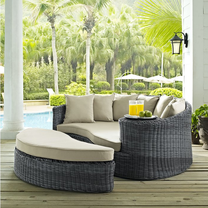 Keiran Patio Daybed With Cushions Regarding Best And Newest Keiran Patio Daybeds With Cushions (View 9 of 20)