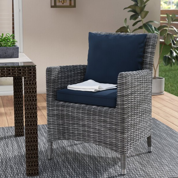 Keiran Patio Dining Chair With Cushion Intended For Best And Newest Keiran Patio Sofas With Cushions (View 3 of 20)