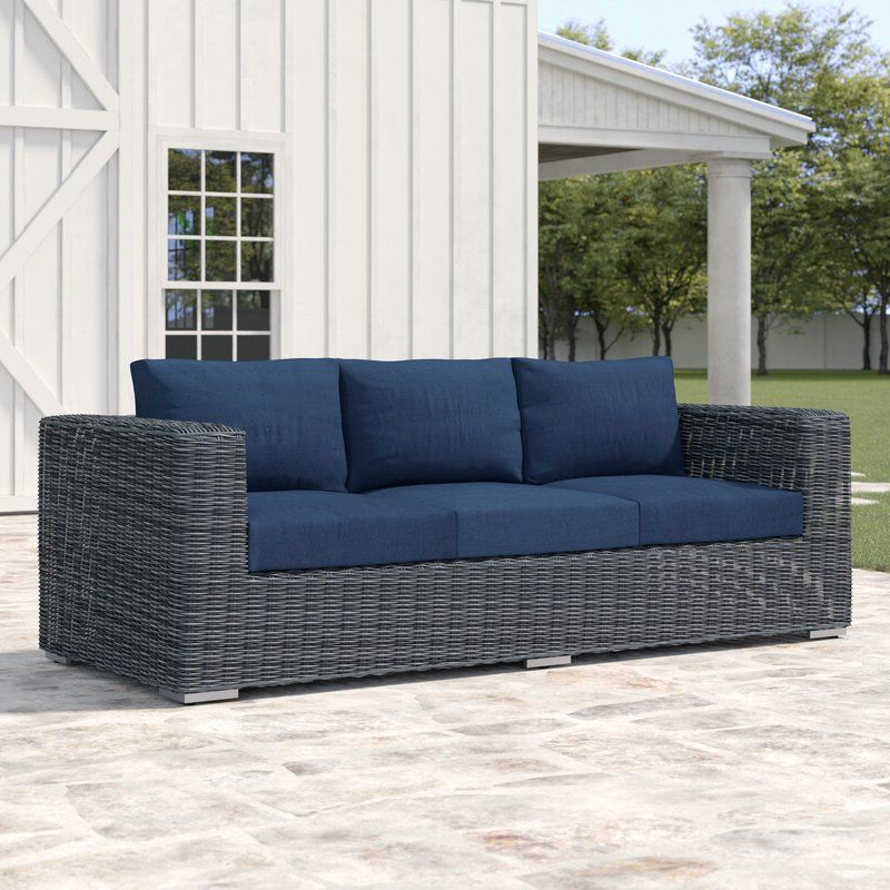 Keiran Patio Sofas With Cushions Inside Trendy Keiran Patio Sofa With Cushions (View 6 of 20)