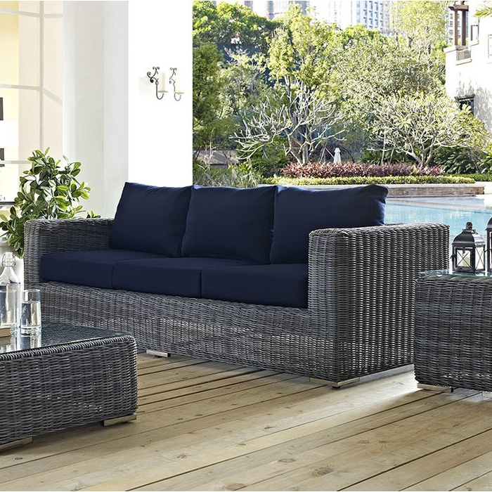 Keiran Patio Sofas With Cushions Intended For Well Liked Keiran Patio Sofa With Cushions (View 7 of 20)