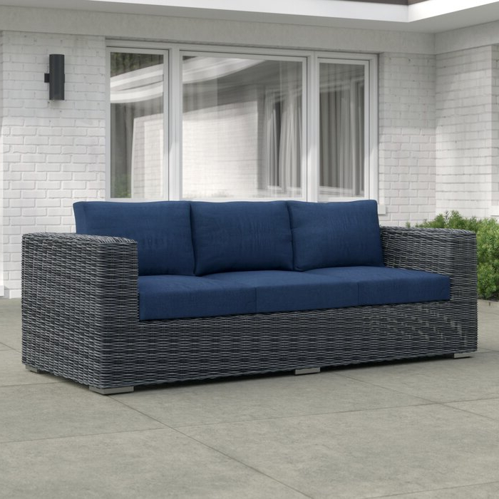 Keiran Patio Sofas With Cushions With Regard To Recent Keiran Patio Sofa With Cushions (View 9 of 20)