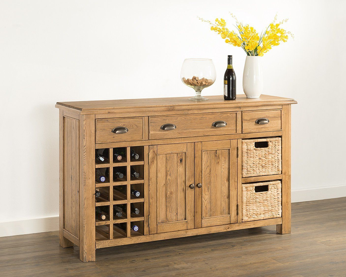Kendall Sideboards With Regard To Most Recent Kendall Oak Large Sideboard With Wine Rack/baskets (View 12 of 20)