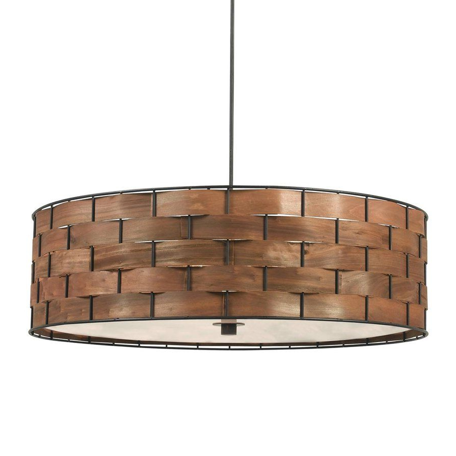 Kenroy Home Shaker 24 In W Dark Woven Wood Hardwired Intended For Most Recently Released Montes 3 Light Drum Chandeliers (View 15 of 20)