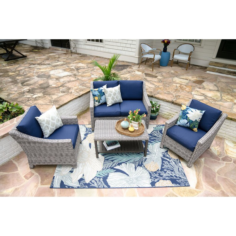 Kevin 4 Piece Sofa Set With Cushions Within Recent Kunz Loveseats With Cushions (Gallery 17 of 20)