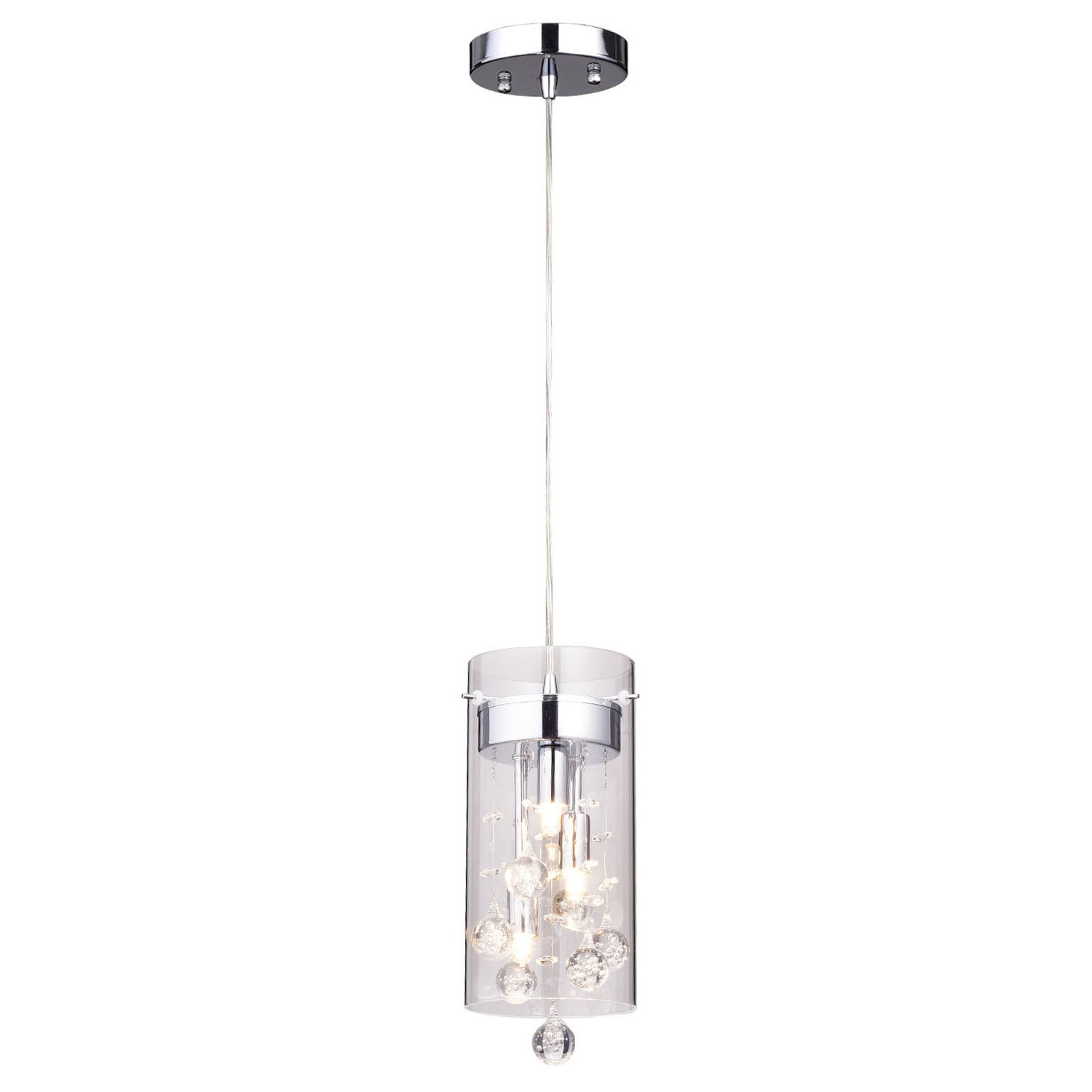 """Kraker 1 Light Single Cylinder Pendants Within Recent Crystal Mini (Less Than 10"""" Wide) Pendant Lighting You'll (View 9 of 20)"""