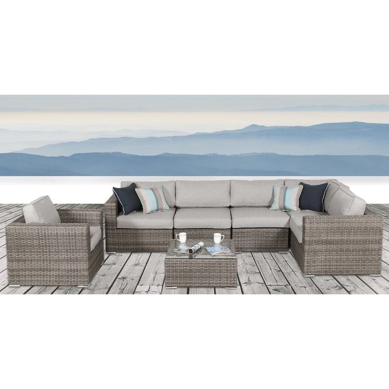 Kunz Loveseats With Cushions With Well Known Vardin 7 Piece Rattan Sectional Set With Cushions (View 8 of 20)